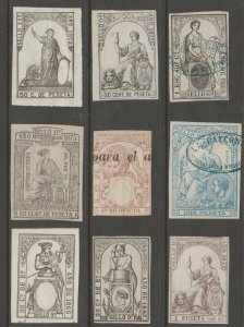SPAIN & Col Revenue fiscal stamp 9-9 some are scarce FOUR SCANS