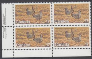 Canada - #854 Prairie Chicken Endangered Wildlife Plate Block - MNH
