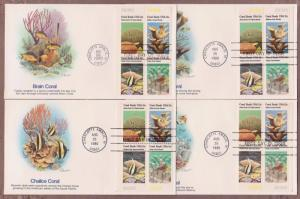 US # 1830a , Coral Reefs , Matched Plate Block Set on 4 FDCs - I Combine S/H