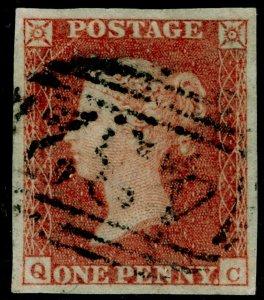 SG8, 1d red-brown, USED. Cat £35. 4 MARGINS. QC