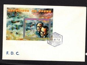 Equatorial Guinea  #7329 (1973 Conquest of Venus 250+50e imperforate sheet)  FDC