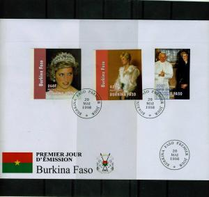 Burkina Faso 1998 Pope John Paul II Princess Diana Set (3) Imperforated in FDC