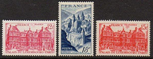 France 1948 Luxembourg Conques VF MNH (591-3)