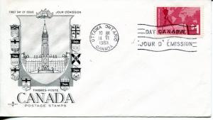Canada #411 tied to  FDC cover  VF
