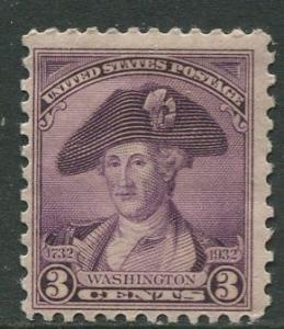USA- Scott 708 - Washington Bicentennial -1932 - MLH - Single 3c Stamp