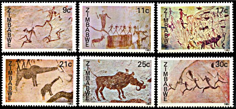 Zimbabwe MNH 446-51 Rock Paintings 1982 SCV 10.50