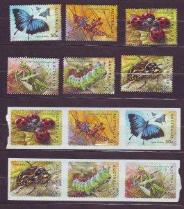 Z701 JLstamps 2003 australia sets mnh #2187-92,2193-8 insects