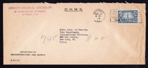 CCC CANADA TO RCA INTL NY OHMS COVER WITH BACK STAMP - 1948