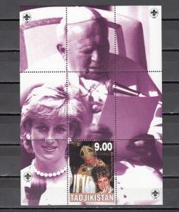 Tadjikistan, 2000 Cinderella issue. Pope John Paul II &  Lady Diana s/sheet.