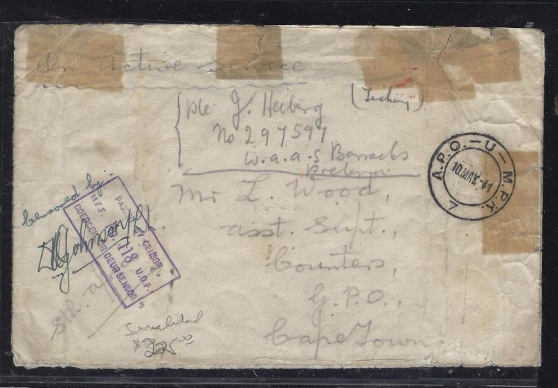 SOMALILAND COVER (P0312B)  1941 OAS  APO COVER TO SOUTH AFRICA