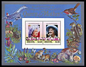 Union Island 211, MNH, Queen Mother's 85th Birthday souvenir sheet