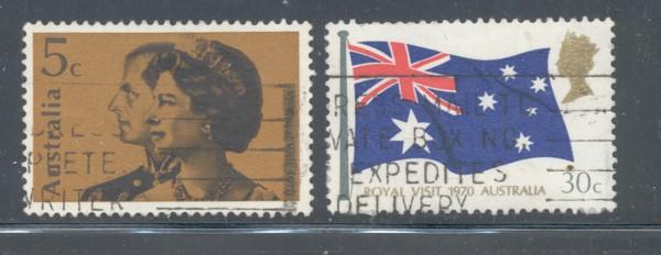 Australia Sc 474-5 1970 Royal Visit stamp set used