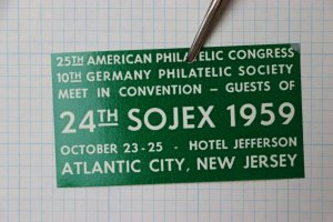 1959 24th SOJEX Atlantic City NJ Philatelic Congress Souvenir Label Ad Jefferson
