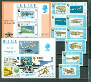 BELIZE AVIATION #440-450...SET & 2 SOUV. SHEETS...MNH...$75.35