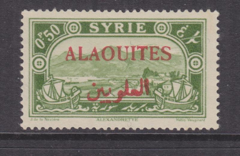 ALAOUITES, SYRIA, 1925 0p.50 Yellow Green overprinted in Red, mnh.