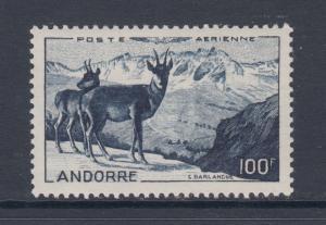 French Andorra Sc C1 MLH. 1950 100fr indigo Air Post VF+