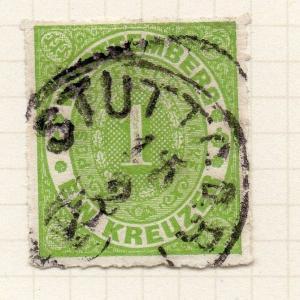 Wurttemberg 1869 Early Issue Fine Used Postmark 1kr. Value 039131