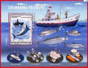 A1635 -CENTRAL AFRICAN R - ERROR: MISSPERF, S/S - 2019, Fishing boats, Fish