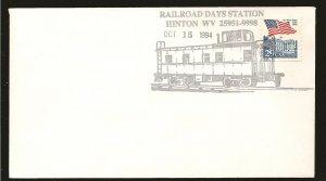 USA Railroad Days Station Hinton WV 1994 Train Cancel Souvenir Cover Used