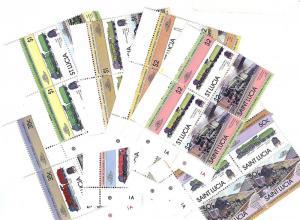 St. Lucia, 617-24, Locomotives - Trains Cyl.Blocks (4), MNH