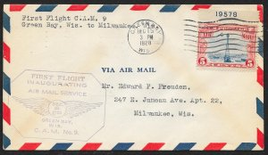 UNITED STATES C11 plate number First Flight Cover c1928 Green Bay to Milwaukee