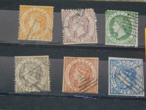 6 EARLY ST. LUCIA (REPRINTS OR FORGERIES?), ALL CANCELLED