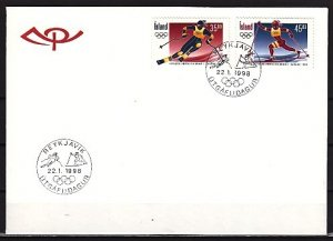 Iceland, Scott cat. 852-853. Nagano Winter Olympics. First day cover. ^