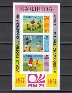 Barbuda, Scott cat. 166 A. Munich World Cup Soccer, w/Scores. IMPERF s/sheet. ^