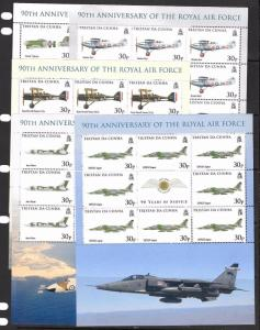 TRISTAN DA CUNHA SG907/11 2008 NAVAL AVIATION SHEETLET MNH