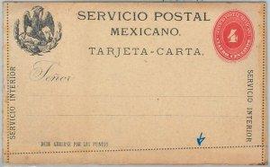 52235 - MEXICO - POSTAL  HISTORY - STATIONERY - HG #5 Heavy card PERF ERROR