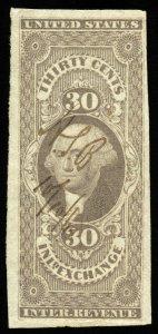 B327 U.S. Revenue Scott R52a 30c Inland Exchange imperforate