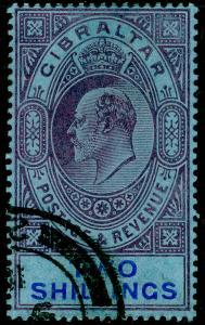 GIBRALTAR SG72, 2s purple & brt blue/blue, FINE USED. Cat £48.