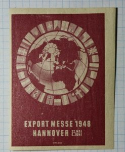 Export Trade Fair Hannover Germany 1948 Exposition Poster Stamp Ads
