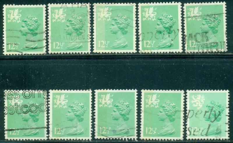 GREAT BRITAIN WALES SG-W37, SCOTT#  WMMH-19, USED, 10 STAMPS, GREAT PRICE