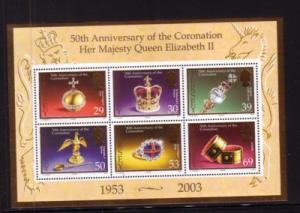 Jersey Sc 1090a 2003 Coronation 50 Years stamp sheet mint NH