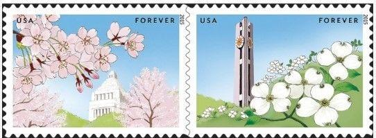 2015 49c Dogwood & Cherry Blossoms, Joint Issue, Japan Scott 4984-85 Mint VF NH