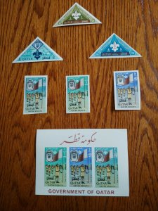 """VERY RARE QATAR 1965 CAT VALUE USD 325.00 """"IMERF"""" STAMPS + S/HEET MNH SCOUTING"""