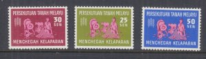 MALAYA FEDERATION, 1963 Freedom From Hunger set of 3, lhm.