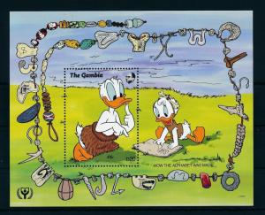 [22373] Gambia 1991 Disney Donald Duck First Alphabet Prehistory MNH