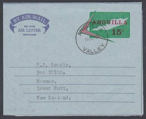 ANGUILLA 1969 15c airletter / aerogramme used ANGUILLA / VALLEY cds.......J981