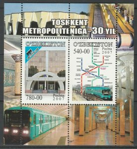 Uzbekistan 2007 Tashkent Metro MNH Block
