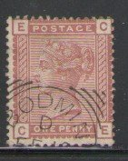 Great Britain Sc 79 1880 1d red brown Victoria stamp used