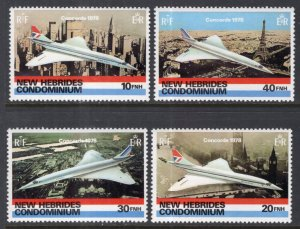 New Hebrides British 254-257 Airplanes MNH VF