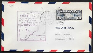 UNITED STATES First Flight Cover 1928 Grand Rapids to Kalamazoo