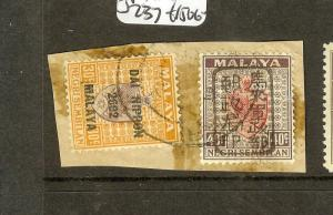 MALAYA JAPANESE OCCUPATION NEGRI SEMBILAN (P1912B) 40C BROWN CHOP SGJ172+237  VF