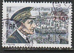 1992 St. Pierre and Miquelon - Sc 576 - used VF - 1 single - V-A Muselier