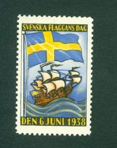 Sweden Poster Stamp Mnh.1938. National Day June 6. Swedish Flag,Sail Ship