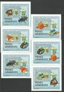 QF2659 2007 MOZAMBIQUE POISONOUS FISH & MARINE LIFE VENENOSOS 6 LUX BL FIX