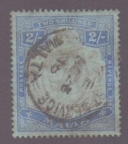 Malta 1914 used 2s.  purple and blue on blue