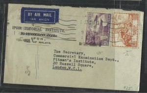 MALAYA PERAK   (PP1008B) COVER 1949 UPU 10C+25C A/M TO ENGLAND
